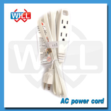 3 Outlet Indoor White Extension Power Cord with UL