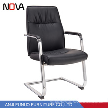 Stainless Steel Frame Black Leather Executive Office Chair No Wheels
