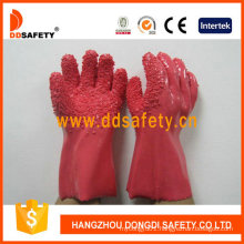100%Cotton Gloves with Pink PVC Rough Chip Finished Dpv106