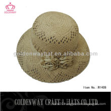 elegant new design boater straw hat for ladies decorate