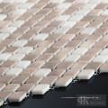 Beige Small Diamond Fabric Printing Glass Mosaic Tile