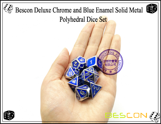 Bescon Deluxe Chrome and Blue Enamel Solid Metal Polyhedral Role Playing RPG Game Dice Set (7 Die in Pack)-7