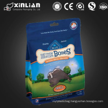 2015 hot sale flat bottom stand up packaging bag with zipper, dog food packaging bag
