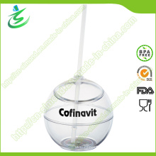 500 Ml Großhandel Kunststoff Ball-Form Stroh Tasse (TB-A5)