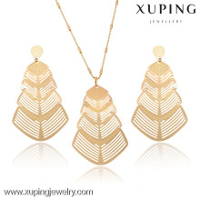 63234-Xuping 18k Plated Statement Womens Wedding Jewelry Set With Pendants Necklace and Earrings