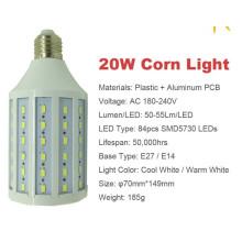 20w 5730 smd llevó la luz del maíz E27 AC180-240V caliente la lámpara llevada blanca fresca