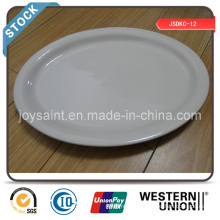 Stock de plaque de poisson en céramique blanc simple de 13 po