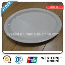 Simples Branco Cerâmica 13 '' Fish Plate Stock