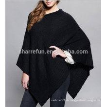 Damen V-Ausschnitt 100% Kaschmir-Seil stricken Poncho mit Neupreis