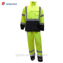 Hola Vis ANSI chaqueta de lluvia impermeable 100% impermeable impermeable con capucha de alta visibilidad clase 3 reflexivo de seguridad capucha Rainsuit