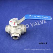 1/2 Inch 3-Way T-Port CF8 Ball Valve 1000 Wog
