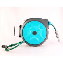 Kerrogee Retractable Hose Reel, 180°Rotate Garden Hose Holder, 65 + 7FT Flexible Any Length Lock Hoses with 9 Pattern Nozzle for Watering, Car Washing