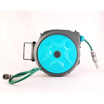 Kerrogee Retractable Hose Reel, 180 ° Rotate Garden Hose Holder, 65 + 7FT Flexible Any Length Lock Hoses with 9 Pattern Nozzle for Watering, Car Wash