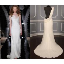 Embellished Applique Back Sheath Wedding Gown