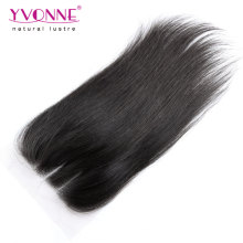 Three Part Lace Closure Brazilian Virgin Human Hair Closure