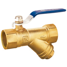 J2038 Válvula de bola de filtro de latón con colador / válvula de latón CW617N