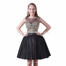 Heißer Verkauf kurze Design Hochzeit Bräute Magd Kleid schwarz Farbe Knie Länge Brautjungfer Kleid Großhandel mit süßen hören Halsausschnitt