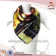 90*90cm print silk satin scarf