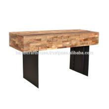 Table de console industrielle en métal et en bois massif
