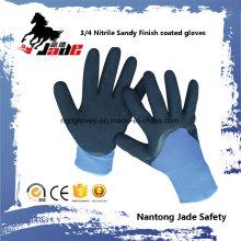 13G Polyester 3/4 Nitril-Sand-Finish mit Nitril-Glattbeschichtetem Handschuh
