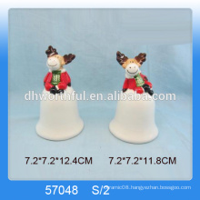 Personalized ceramic christmas bell decoration with cute reindeer figurine