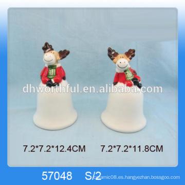 Decoración personalizada de campana de Navidad de cerámica con figurita linda de renos