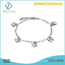 2016 new design style top quality silver ankle bracelet platinum anklets
