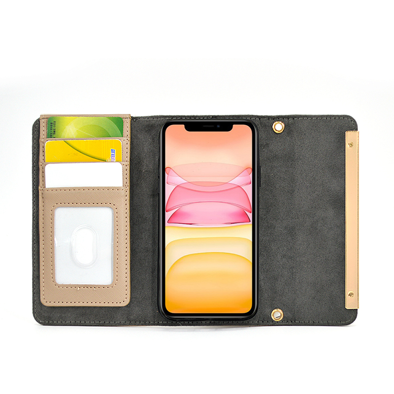 Stand Design Flip Leather Phone Case with Mirror