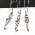 Mermaid Silver Locket Cage Pendant Necklace Jewelry Cadeaux