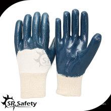 SRSAFETY Лучшие трикотажные нитки нитриловые перчатки с покрытием 3/4, вязаные наручные образцы без образцов