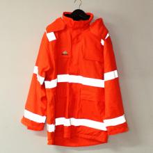 Orange Hooded PU Jacket/Raincoat/Reflective/Safety Working Wear for Adult