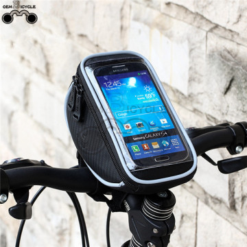 Waterproof Travel Bicycle Front Bag with Transparent Screen Touch Phone Holder