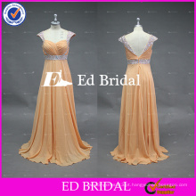 ED Bridal Factory Atacado Cap Sleeve Lace Heavy Rhinestones Beaded Sash Low Back Nude Colored Prom Dresses 2017