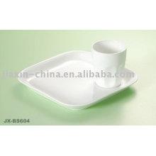 Set de petit déjeuner blanc en porcelaine JX-BS604