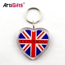 Porte-photo porte-clés en acrylique blanc avec logo d'impression