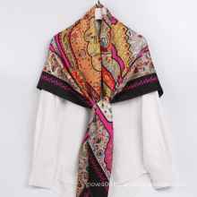 Wholesale High Quality Fancy Scarves Designer Brand Twill Silk National Characteristics Scarf