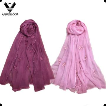 Cabeça de caveira atacado das mulheres bordados lenço crepe de seda de dobra