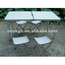 Conjuntos de mesa e cadeiras dobráveis de alumínio
