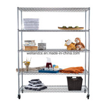 Convenient 5 Tier Commercial Chrome Steel Wire Shelving Rack