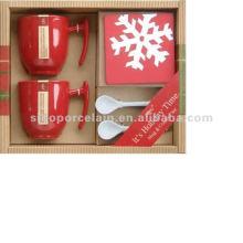 Taza de café de cerámica de Navidad con cuchara y posavasos