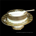 Wedding cake plates with stand with cake knife with 6 plates gold inlay fer party decorative cake set