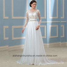 Robes de mariée sans manches en dentelle à manches longues Robe de mariée en dentelle Wd001