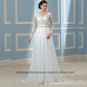 Backless Wedding Gowns Long Sleeves Lace Bridal Wedding Dress Wd001