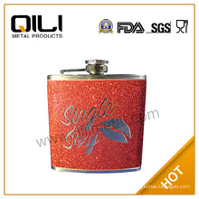 Embossing on leather hip flask vacuum flask brown flask
