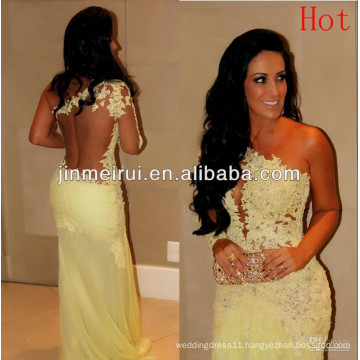Online Selling Special One Shoulder Long Sleeve Lace Chiffon Sexy Prom Evening Dresses 2014 New Arrival With DHL Free Shipping
