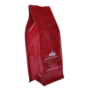Pocket Ziplock Bags Box Bottom Pouches Plastic Red Color Coffee Bag