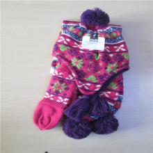 девушки жаккардовая Вязаная шляпа шарф перчатки