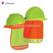 Abat-jour dur de cou de chapeau de maille de polyester de chaux de Hi-Vis, bouclier de soleil de casque avec la sécurité de visibilité élevée de bande réfléchissante