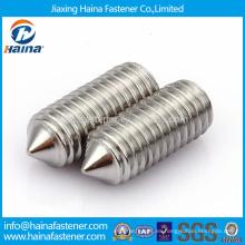 Tornillo de ajuste hexagonal de acero inoxidable DIN914 con punta cónica