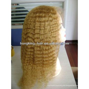 Hellblonde volle Spitzeperücke des menschlichen Haares für Frauen